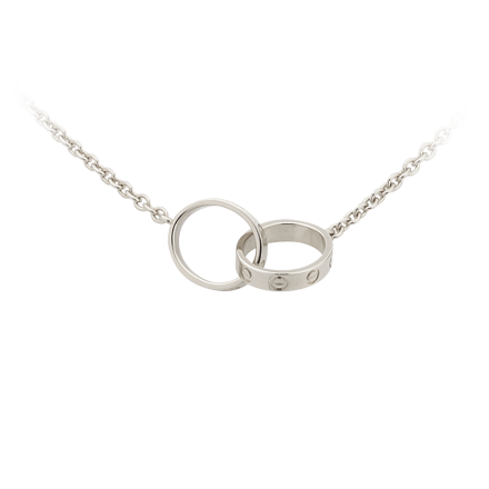 Oro blanco collar de cadena LOVE Cartier réplica con dos anillos de mejor precio