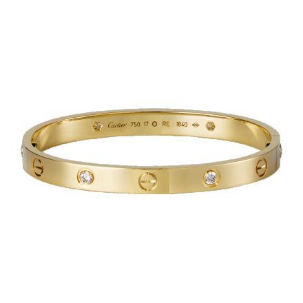 Cartier love pulsera de oro amarillo con 4 diamantes en venta