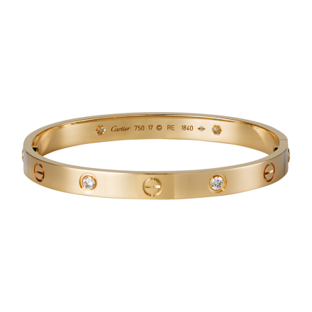 Fashion Cartier LOVE bracelet imitation pink gold with 4 diamonds and screwdriver