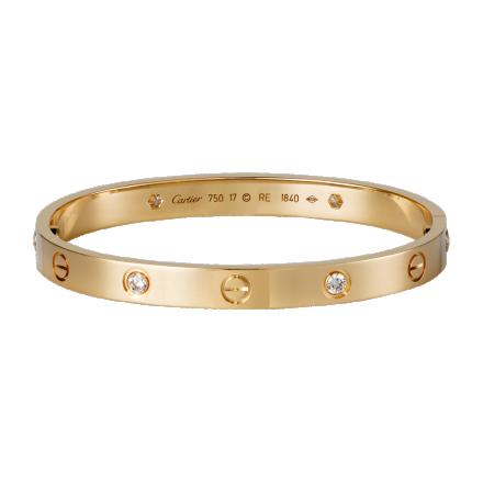 Mode bracelet LOVE Cartier imitation or rose avec 4 diamants et tournevis