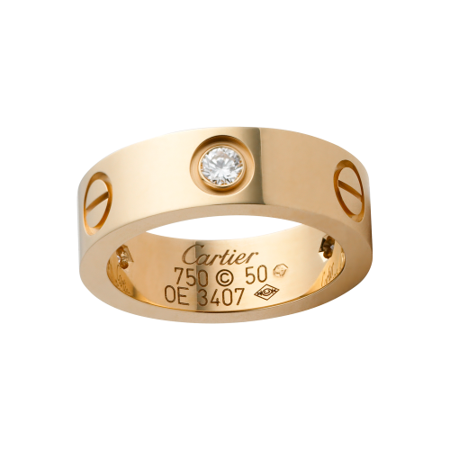 Fine Cartier LOVE ring replica with 3 Diamonds in yellow gold