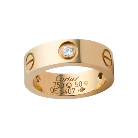 Feine Replik Cartier Love Ring mit 3 Diamanten in Gelbgold