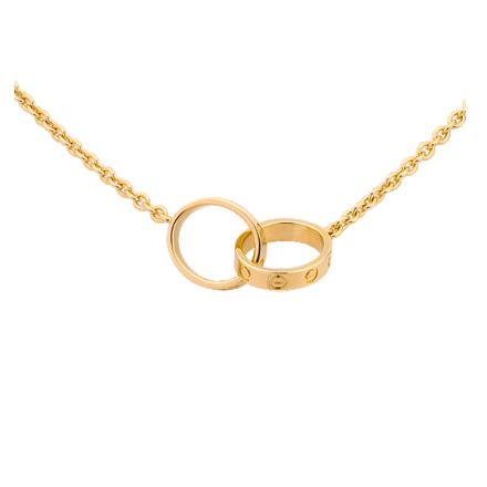 Faux Collier chaîne LOVE Cartier or jaune avec 2 bagues pendentif