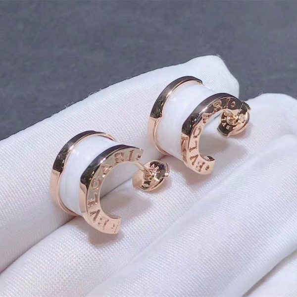 Real 18k Rose gold Bulgari B.zero1 Earrings White Ceramic