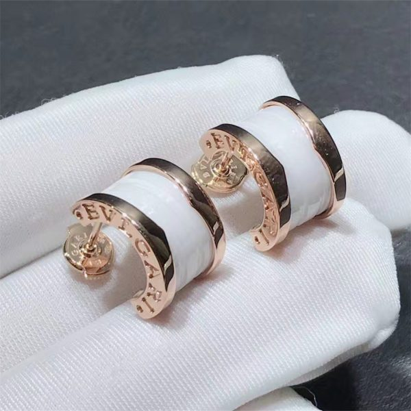 Real 18k Rose gold Bulgari B.zero1 Earrings White Ceramic