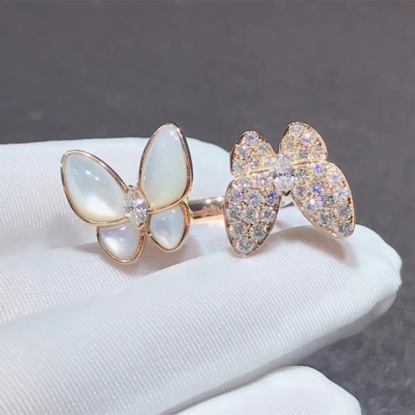 Two Butterfly Between the Finger ring, rose gold, white mother-of-pearl