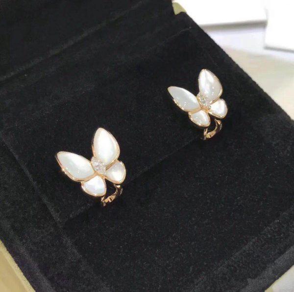 Van Cleef & Arpels Two Butterfly earrings white mother-of-pearl