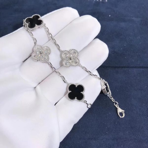 VCA Vintage Alhambra Bracelet Onyx white gold diamonds