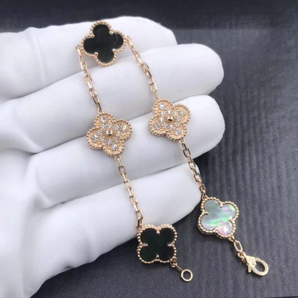VCA Vintage Alhambra bracelet, 5 motifs Rose gold, Mother-of-pearl, Diamond