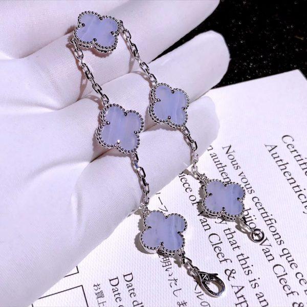 VCA Vintage Alhambra bracelet, 5 motifs White gold, Chalcedony