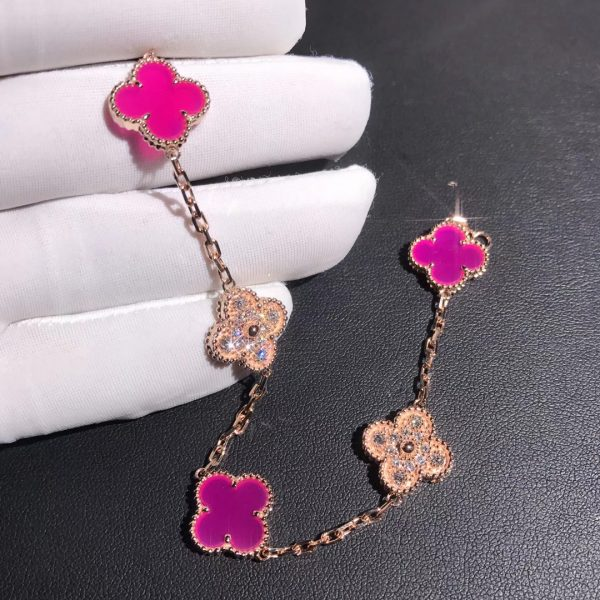 Van Cleef & Arpels Vintage Alhambra bracelet, 5 motifs, Diamonds