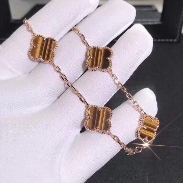 Vintage Alhambra bracelet, 5 motifs Yellow gold, Tiger Eye