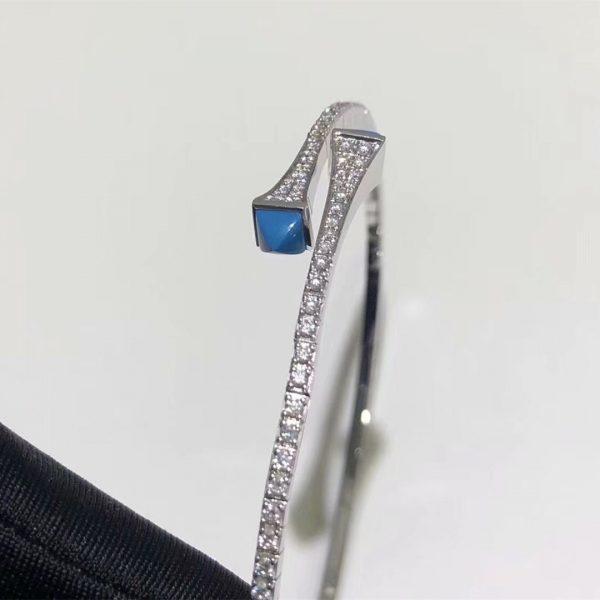Pure 18 Karat Gold Maril New York Cleo Diamond Slim Slip-on Bracelet with Turquoise