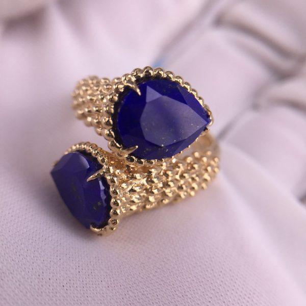 Pure 18k gold Boucheron Serpent Boheme Two Stone Ring set with lapis lazuli