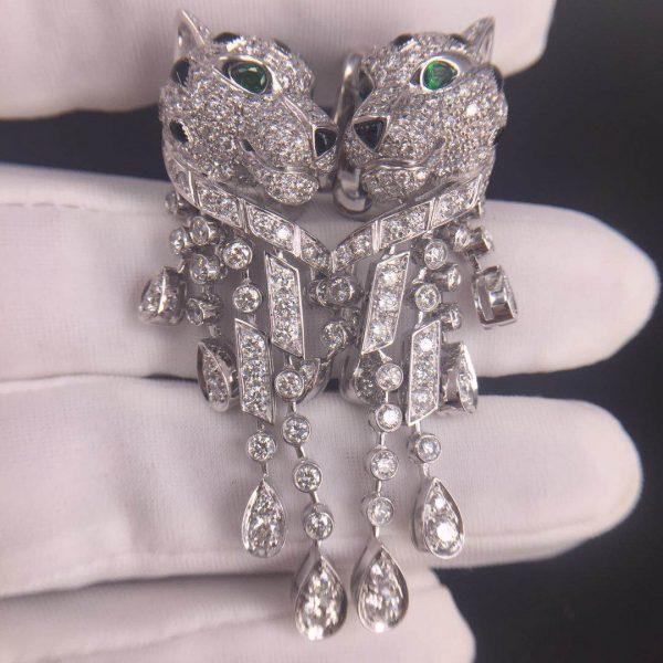 Panth�re de Cartier Earrings, 950� platinum, 310 brilliant-cut diamonds totaling 5.63 carats, emeralds, onyx.