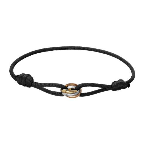 Trinity de cartier 3-gold black cotton rope bracelet B6016700 replica