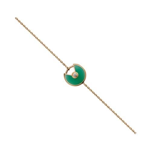 amulette de cartier yellow gold inlaid diamonds malachite padlock design bracelet replica