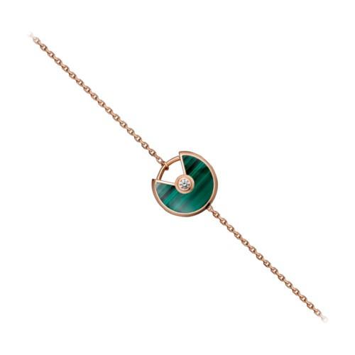 amulette de cartier rose gold inlaid diamonds malachite padlock design bracelet replica