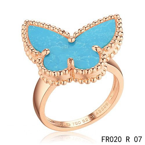 Van Cleef and Arpels Lucky Alhambra Butterfly Ring Pink Gold with Turquoise