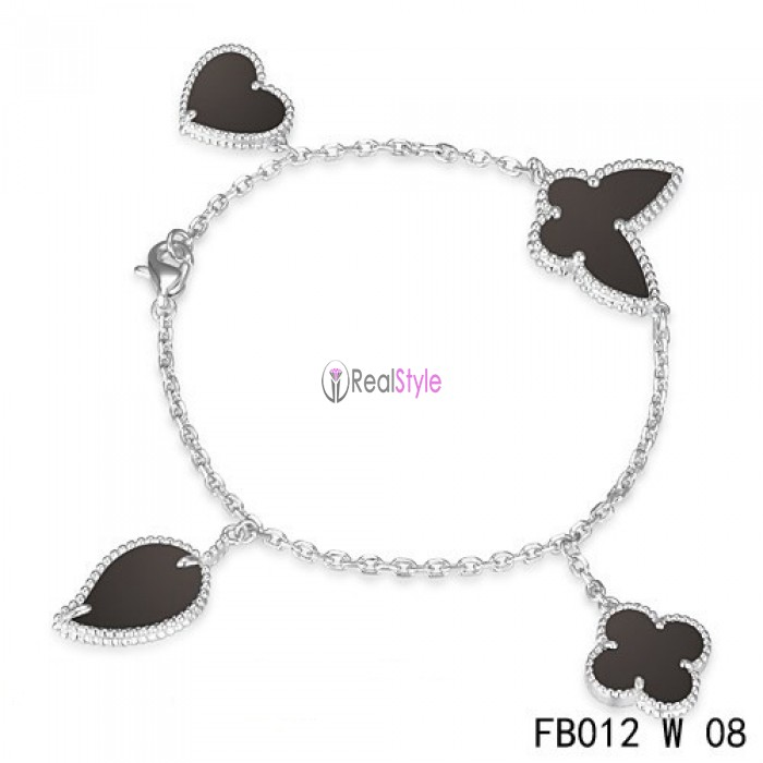Van Cleef & Arpels Lucky Alhambra White Gold Bracelet with 4 Black Onyx Motifs