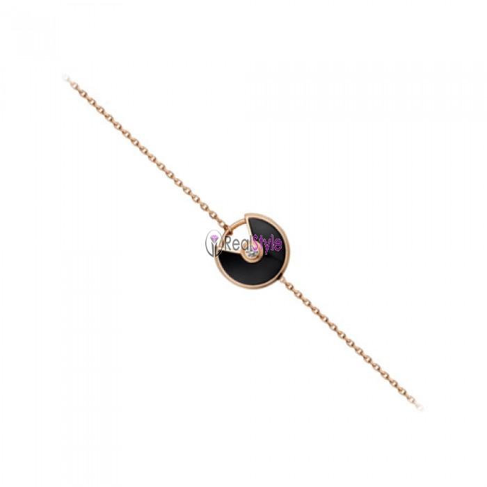 amulette de cartier rose gold diamond onyx padlock design bracelet replica