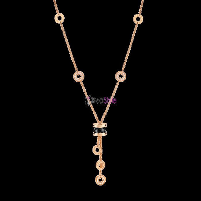 Bvlgari B.ZERO1 necklace pink gold black ceramic pendant CL856127 replica