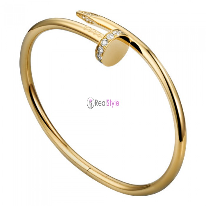 cartier juste un clou bracelet plated real yellow gold set with diamonds replica