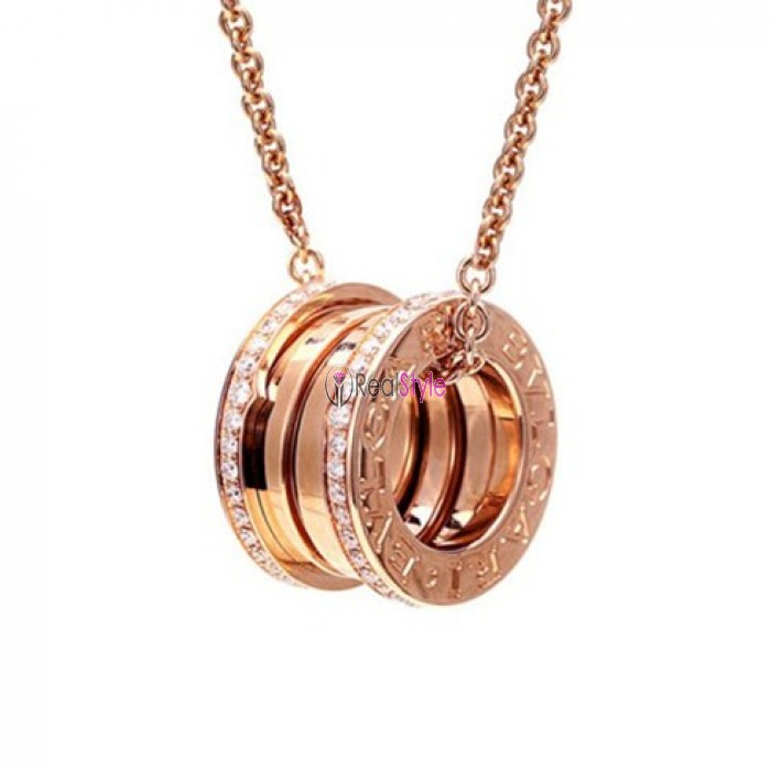 Bvlgari B.ZERO1 necklace pink gold paved with diamonds pendant CL857025 replica