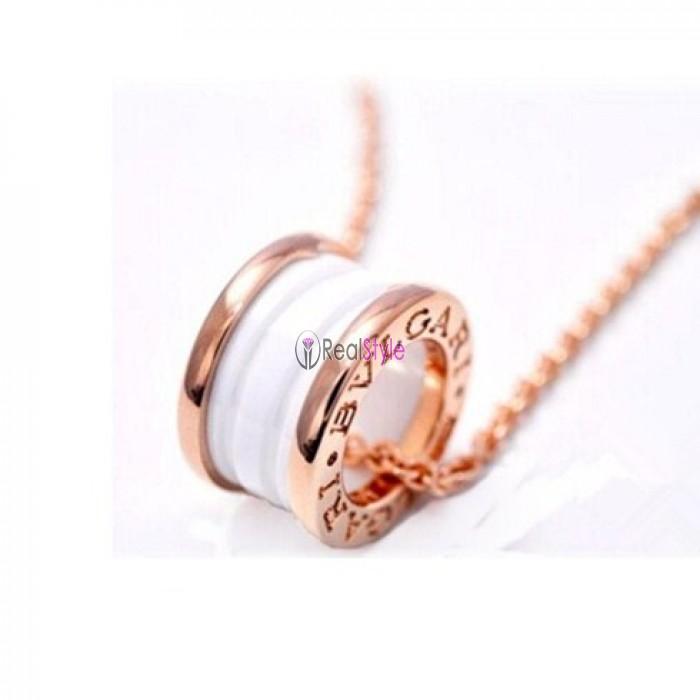 Bvlgari B.ZERO1 necklace white gold white ceramic pendant CL855721 replica