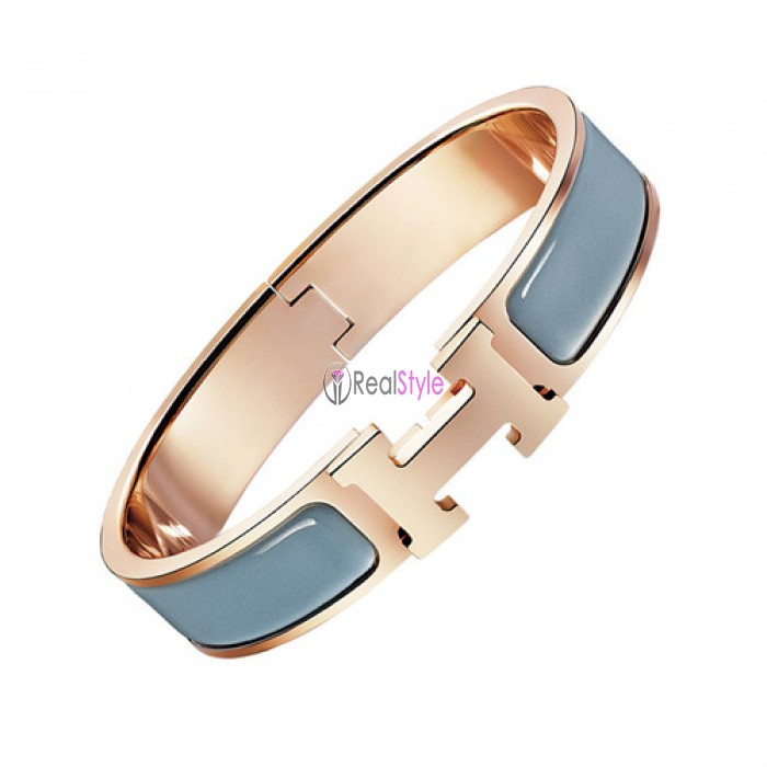 Hermes clic H bracelet pink gold narrow storm gray enamel replica