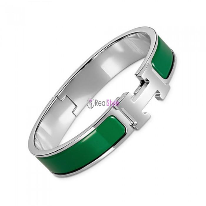 Hermes clic H bracelet white gold narrow pine green enamel replica