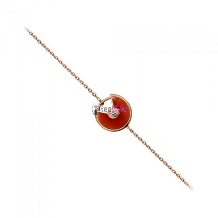 amulette de cartier rose gold red Chalcedony padlock design bracelet replica