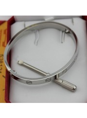cartier love bracelet white gold plated real with screwdriver replica