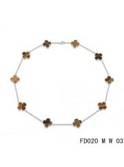 Van Cleef Arpels Vintage Alhambra Necklace White Gold 10 Motifs Tiger's Eye