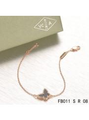 Van Cleef & Arpels Pink Gold Sweet Alhambra Black Onyx Butterfly Bracelet