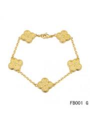 Van Cleef and Arpels Yellow Gold Vintage Alhambra Bracelet 5 Motifs