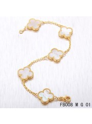 Vintage Alhambra Yellow Gold 5 Motifs White Mother of Pearl Bracelet