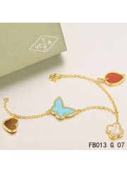 Lucky Alhambra Yellow Gold Bracelet with 4 Stone Combination Motifs CLBH0621