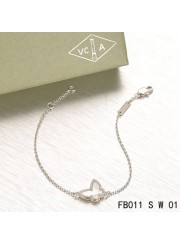 Sweet Alhambra Butterfly Bracelet in White Gold with White Mother-of-peral