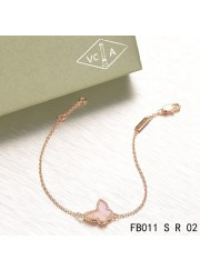 Sweet Alhambra Butterfly Bracelet in Pink Gold with Gray Mother-of-peral