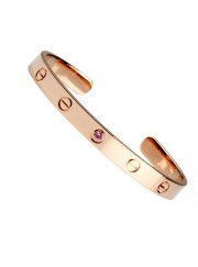 cartier cuff bracelet plated real 18k pink gold with one sapphire diamond replica