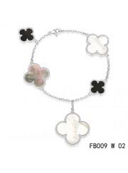Van Cleef & Arpels White Gold Magic Alhambra Bracelet 5 Motifs Stone Combination