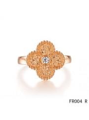 Van Cleef & Arpels Vintage Alhambra Ring,Pink Gold with Diamond