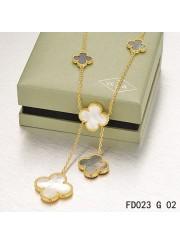 Van Cleef Arpels 6 Clover Motifs Stone Combinatio Magic Alhambra Necklace Yellow Gold
