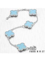 Van Cleef Arpels Vintage Alhambra White Gold Bracelet 5 Motifs Turquoise