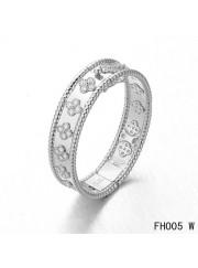 Van Cleef & Arpels Perlee Clover Bracelet,White Gold,Medium Model