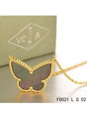 Van Cleef Arpels Yellow Gold Lucky Alhambra Butterfly Necklace Gary Mother-of-Pearl