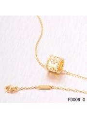 Van Cleef Arpels Perlee Clover Pendant Necklace Yellow Gold with Diamonds