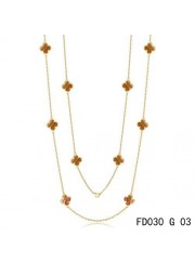 Van Cleef & Arpels Vintage Alhambra 10 Motifs Tiger's Eye Long Necklace Yellow Gold
