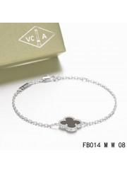Van Cleef & Arpels Sweet Alhambra Clover Mini Black Onyx Bracelet in White Gold